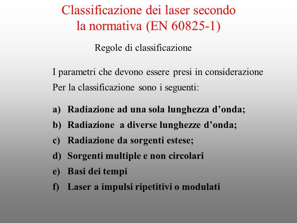 Classificazione dei laser secondo la normativa (EN 60825-1) Regole di classificazione I parametri che devono essere presi in considerazione Per la cla