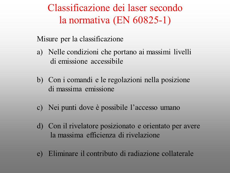 Classificazione dei laser secondo la normativa (EN 60825-1) Misure per la classificazione a)Nelle condizioni che portano ai massimi livelli di emissio