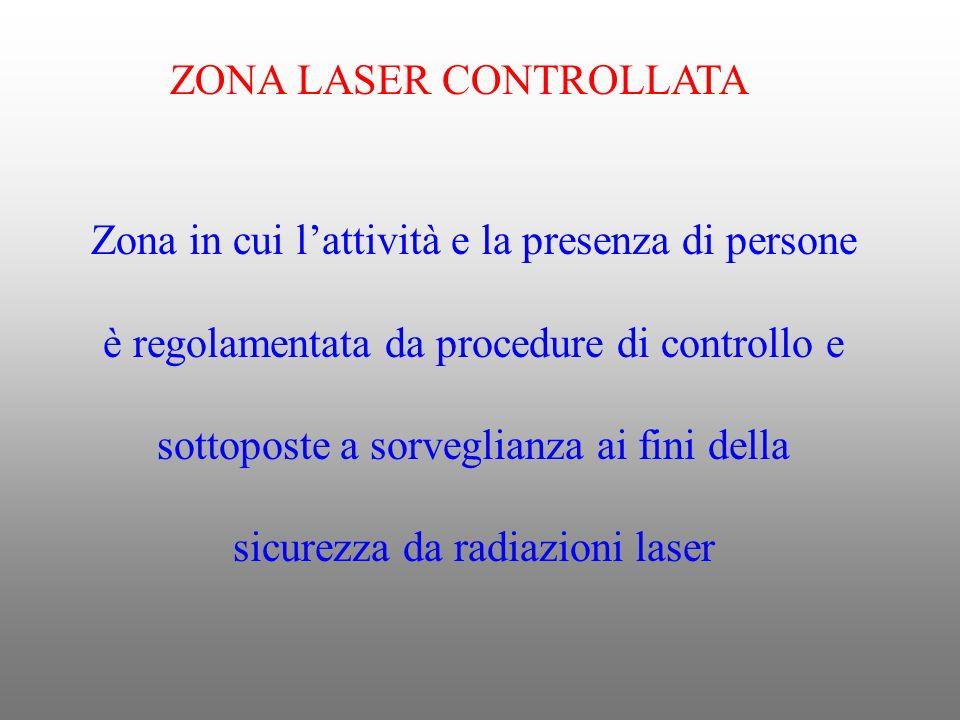 ZONA LASER CONTROLLATA Zona in cui lattività e la presenza di persone è regolamentata da procedure di controllo e sottoposte a sorveglianza ai fini de