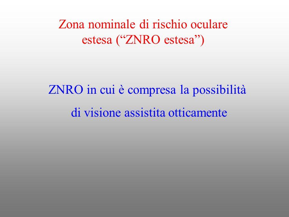 Zona nominale di rischio oculare estesa (ZNRO estesa) ZNRO in cui è compresa la possibilità di visione assistita otticamente