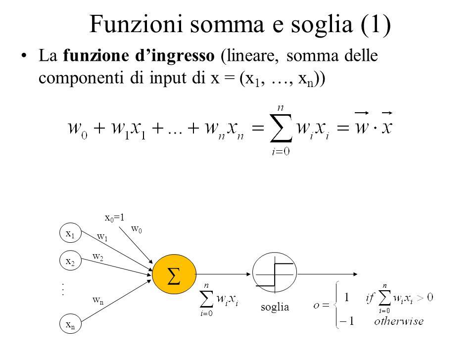 Funzioni somma e soglia (1) La funzione dingresso (lineare, somma delle componenti di input di x = (x 1, …, x n )) x1x1 x2x2 xnxn... w1w1 w2w2 wnwn so