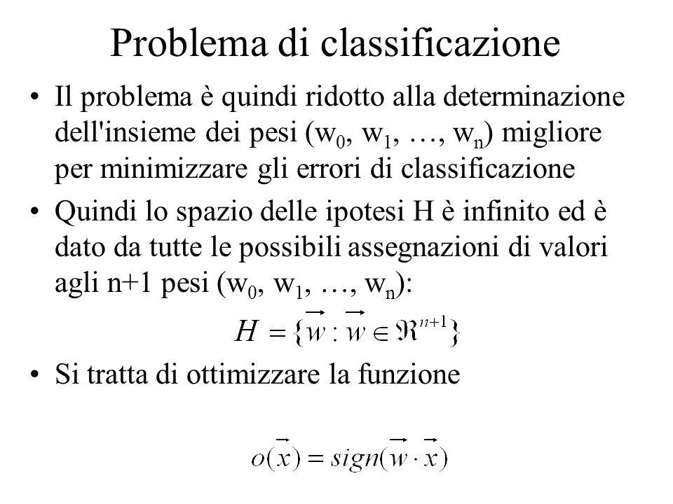 Problema di classificazione Il problema è quindi ridotto alla determinazione dell'insieme dei pesi (w 0, w 1, …, w n ) migliore per minimizzare gli er