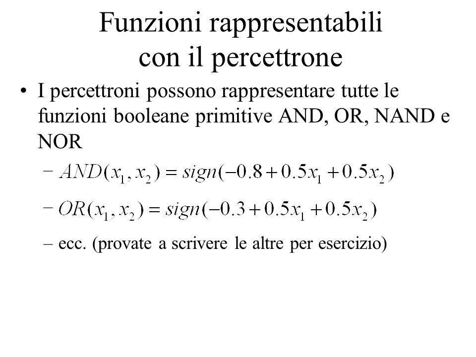 Funzioni rappresentabili con il percettrone I percettroni possono rappresentare tutte le funzioni booleane primitive AND, OR, NAND e NOR – –ecc. (prov