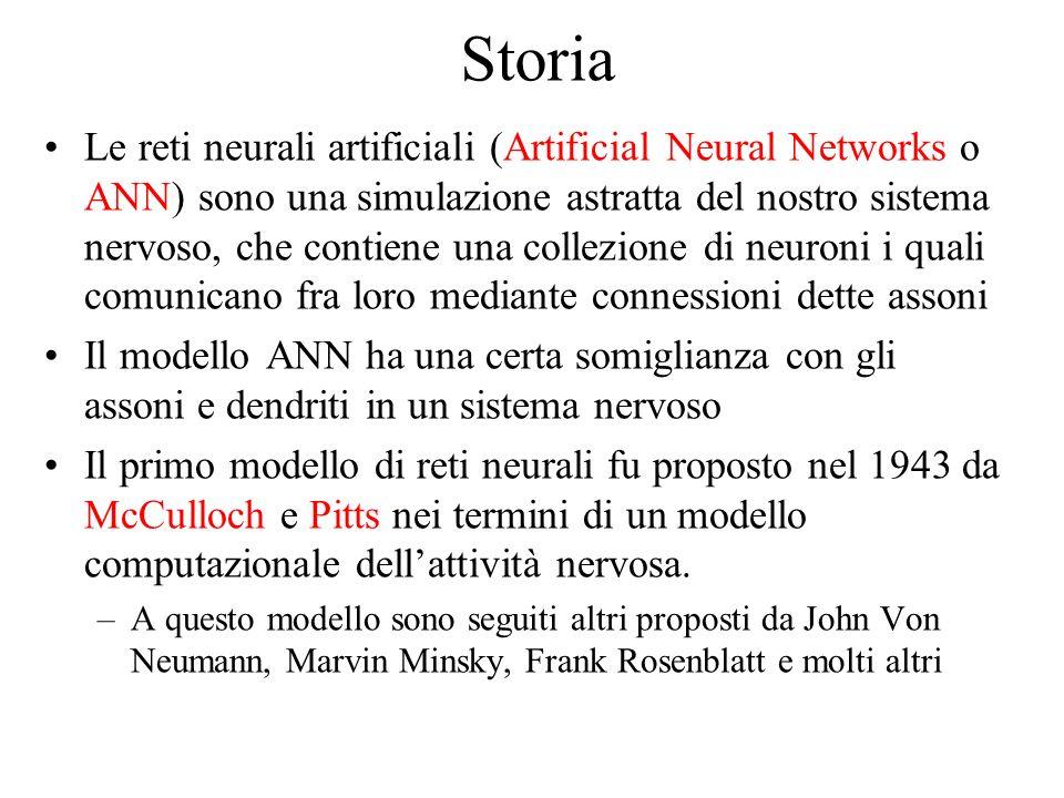 Storia Le reti neurali artificiali (Artificial Neural Networks o ANN) sono una simulazione astratta del nostro sistema nervoso, che contiene una colle