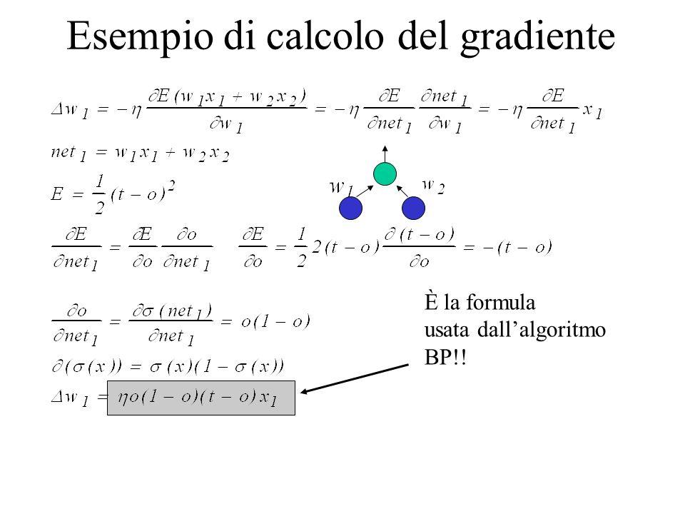 Esempio di calcolo del gradiente È la formula usata dallalgoritmo BP!!