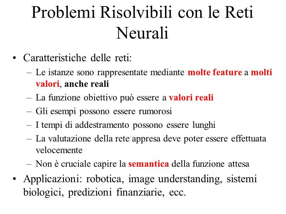 Problemi Risolvibili con le Reti Neurali Caratteristiche delle reti: –Le istanze sono rappresentate mediante molte feature a molti valori, anche reali