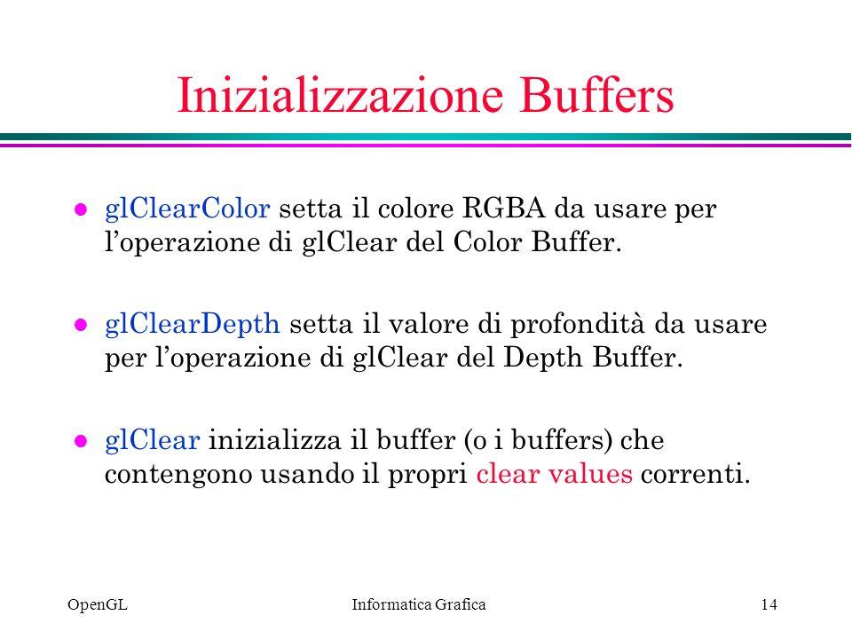 Informatica Grafica OpenGL14 Inizializzazione Buffers l glClearColor setta il colore RGBA da usare per loperazione di glClear del Color Buffer. l glCl