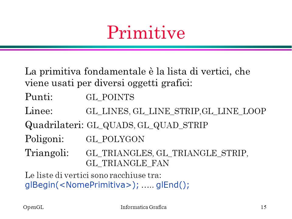 Informatica Grafica OpenGL15 Primitive La primitiva fondamentale è la lista di vertici, che viene usati per diversi oggetti grafici: Punti: GL_POINTS