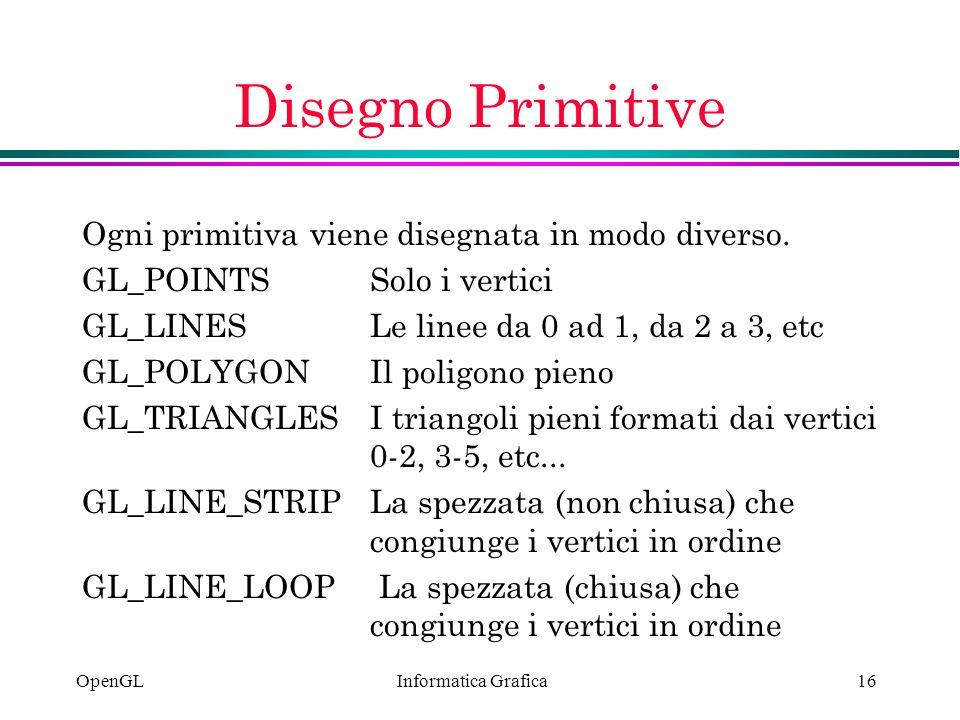 Informatica Grafica OpenGL16 Disegno Primitive Ogni primitiva viene disegnata in modo diverso. GL_POINTSSolo i vertici GL_LINESLe linee da 0 ad 1, da