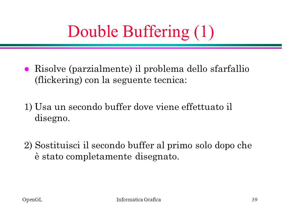 Informatica Grafica OpenGL39 Double Buffering (1) l Risolve (parzialmente) il problema dello sfarfallio (flickering) con la seguente tecnica: 1)Usa un