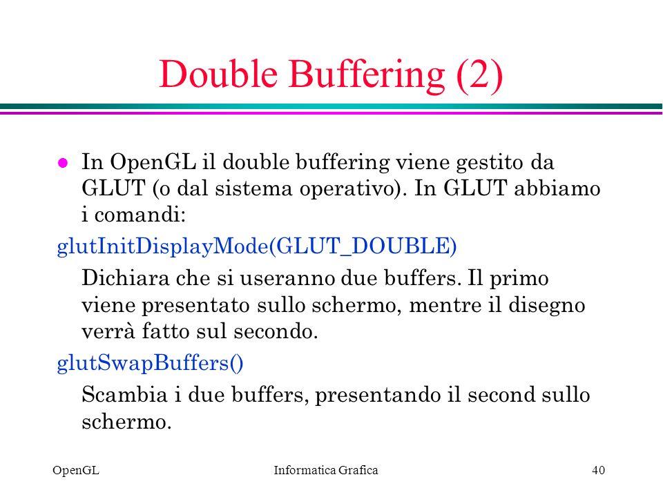 Informatica Grafica OpenGL40 Double Buffering (2) l In OpenGL il double buffering viene gestito da GLUT (o dal sistema operativo). In GLUT abbiamo i c