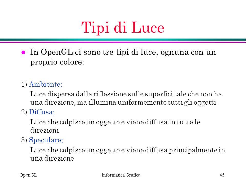 Informatica Grafica OpenGL45 Tipi di Luce l In OpenGL ci sono tre tipi di luce, ognuna con un proprio colore: 1) Ambiente; Luce dispersa dalla rifless