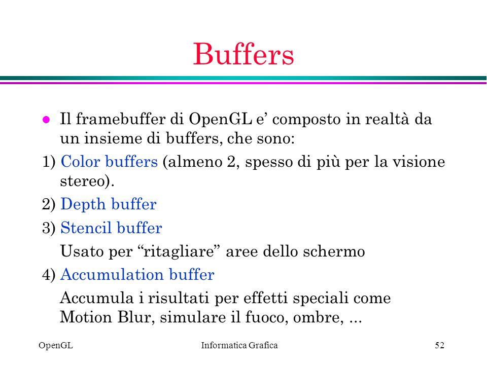 Informatica Grafica OpenGL52 Buffers l Il framebuffer di OpenGL e composto in realtà da un insieme di buffers, che sono: 1) Color buffers (almeno 2, s