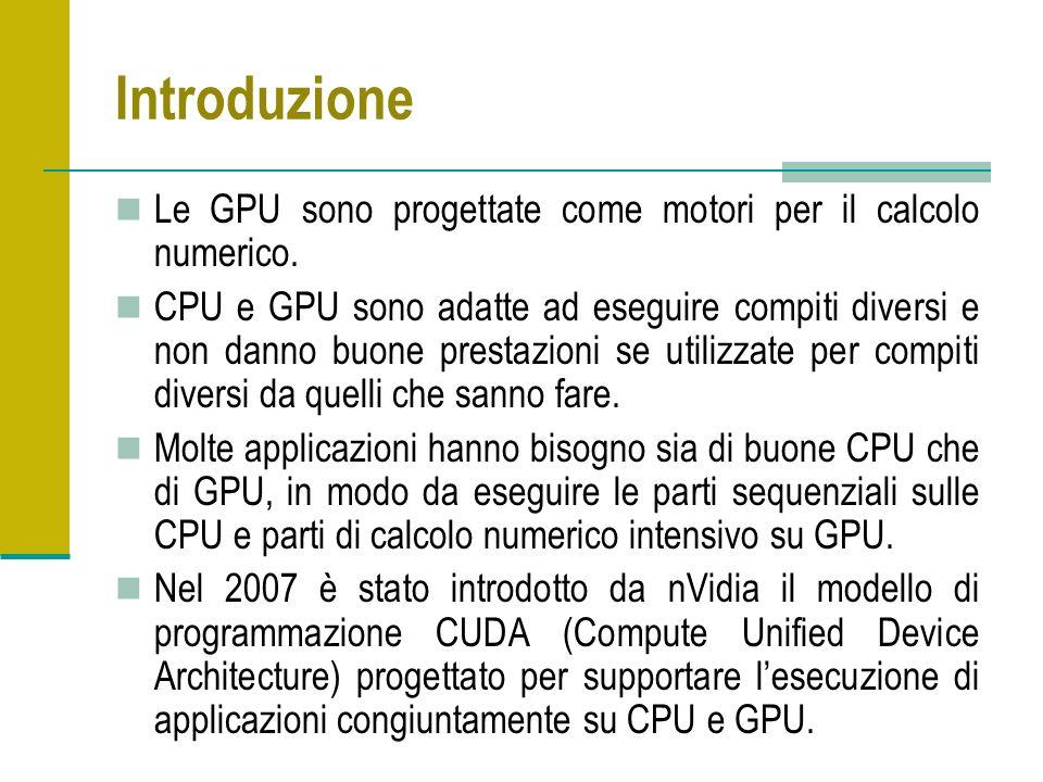 Introduzione Le GPU sono progettate come motori per il calcolo numerico. CPU e GPU sono adatte ad eseguire compiti diversi e non danno buone prestazio