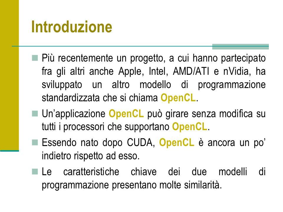 Introduzione Più recentemente un progetto, a cui hanno partecipato fra gli altri anche Apple, Intel, AMD/ATI e nVidia, ha sviluppato un altro modello di programmazione standardizzata che si chiama OpenCL.