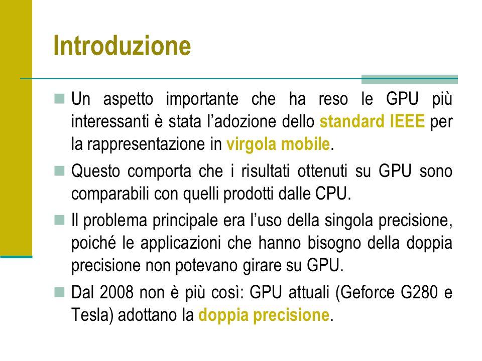Introduzione Un aspetto importante che ha reso le GPU più interessanti è stata ladozione dello standard IEEE per la rappresentazione in virgola mobile.