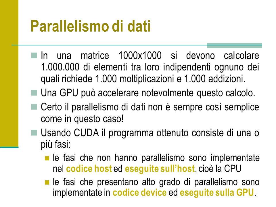 Parallelismo di dati In una matrice 1000x1000 si devono calcolare 1.000.000 di elementi tra loro indipendenti ognuno dei quali richiede 1.000 moltiplicazioni e 1.000 addizioni.