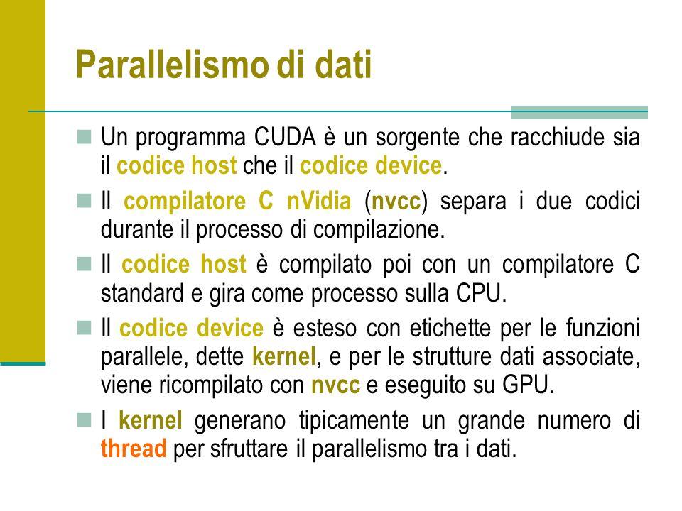 Parallelismo di dati Un programma CUDA è un sorgente che racchiude sia il codice host che il codice device. Il compilatore C nVidia ( nvcc ) separa i