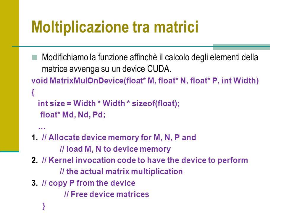 Moltiplicazione tra matrici Modifichiamo la funzione affinchè il calcolo degli elementi della matrice avvenga su un device CUDA. void MatrixMulOnDevic
