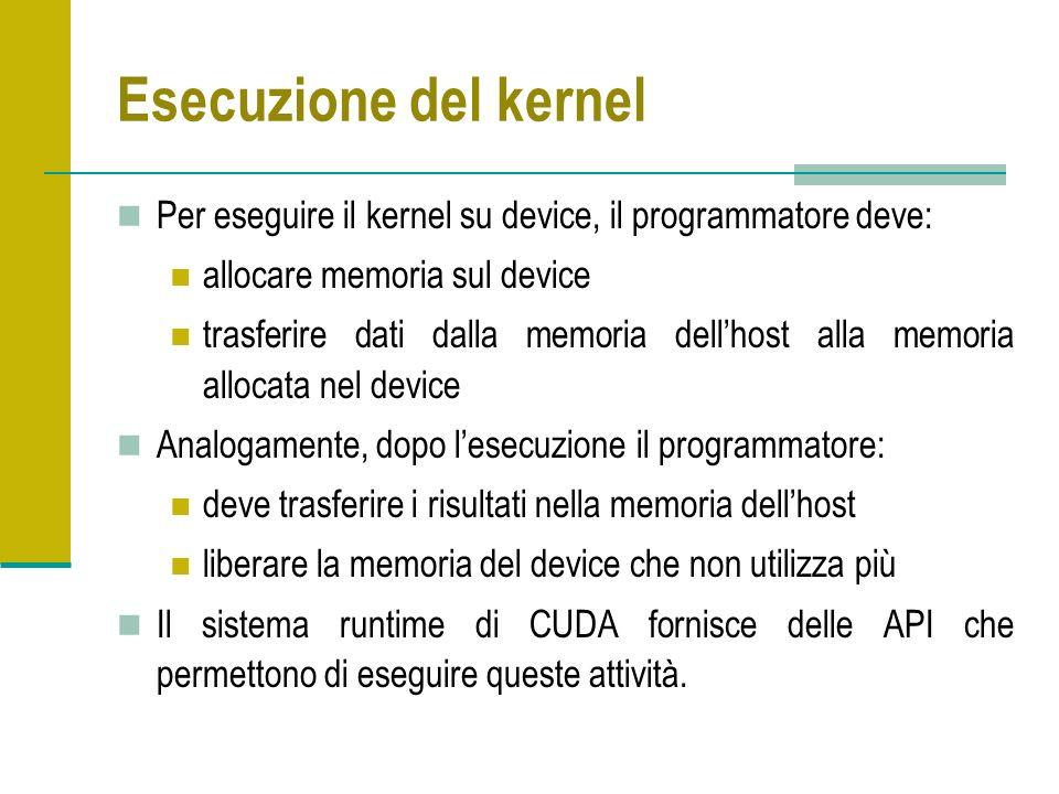 Esecuzione del kernel Per eseguire il kernel su device, il programmatore deve: allocare memoria sul device trasferire dati dalla memoria dellhost alla memoria allocata nel device Analogamente, dopo lesecuzione il programmatore: deve trasferire i risultati nella memoria dellhost liberare la memoria del device che non utilizza più Il sistema runtime di CUDA fornisce delle API che permettono di eseguire queste attività.