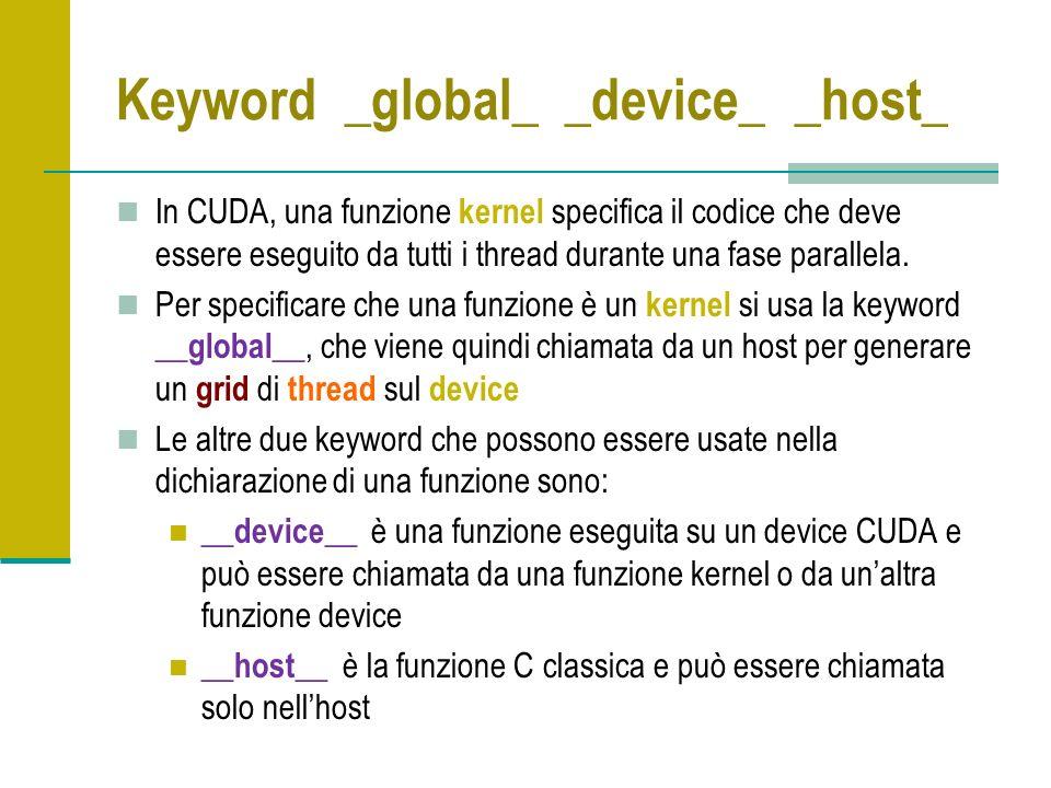 Keyword _global_ _device_ _host_ In CUDA, una funzione kernel specifica il codice che deve essere eseguito da tutti i thread durante una fase parallela.