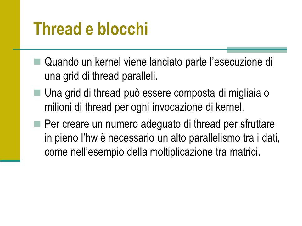 Thread e blocchi Quando un kernel viene lanciato parte lesecuzione di una grid di thread paralleli. Una grid di thread può essere composta di migliaia