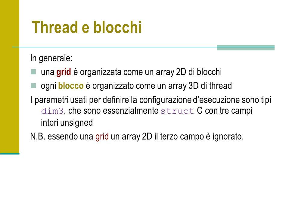 Thread e blocchi In generale: una grid è organizzata come un array 2D di blocchi ogni blocco è organizzato come un array 3D di thread I parametri usati per definire la configurazione desecuzione sono tipi dim3, che sono essenzialmente struct C con tre campi interi unsigned N.B.