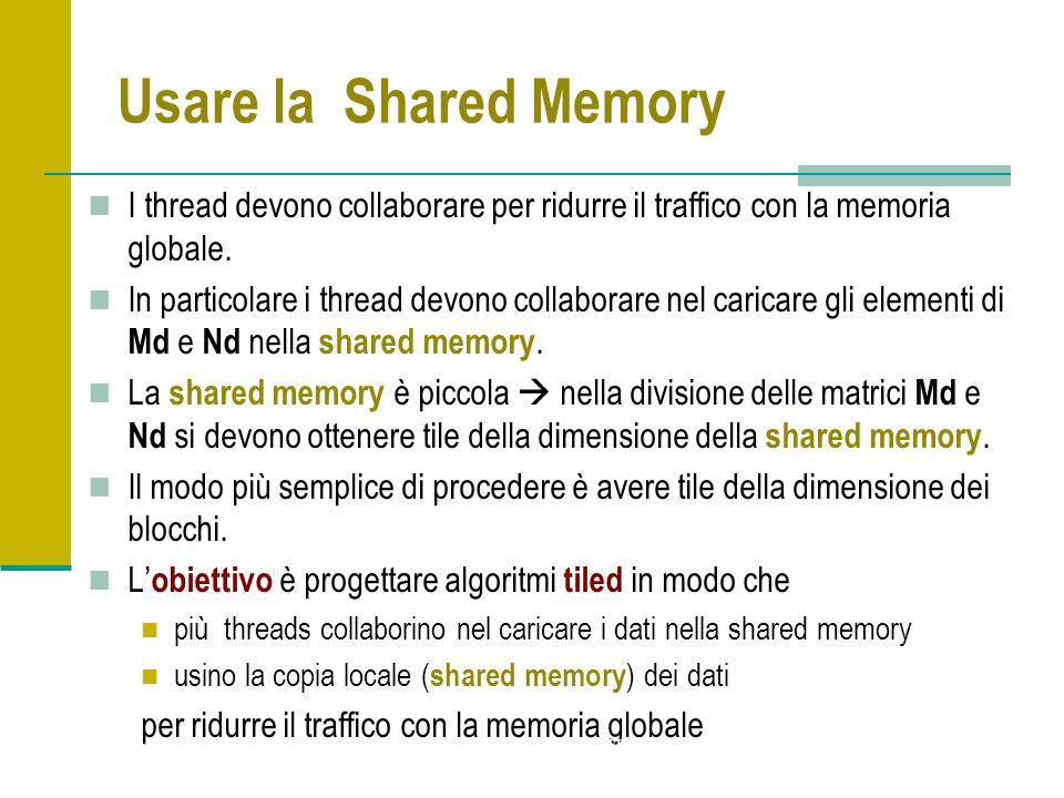 Usare la Shared Memory I thread devono collaborare per ridurre il traffico con la memoria globale. In particolare i thread devono collaborare nel cari