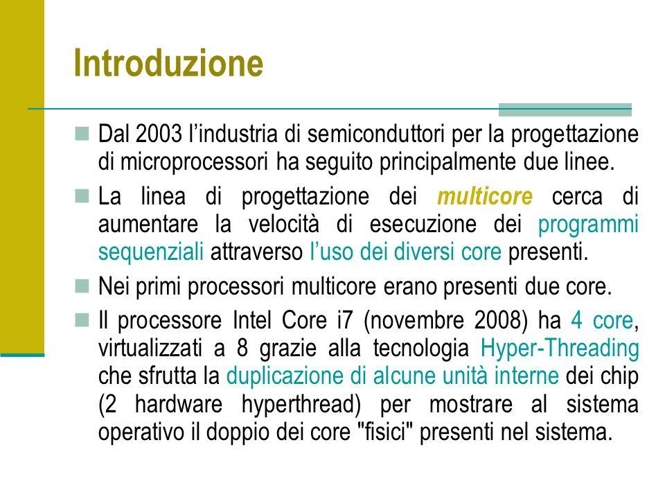 Introduzione Dal 2003 lindustria di semiconduttori per la progettazione di microprocessori ha seguito principalmente due linee.