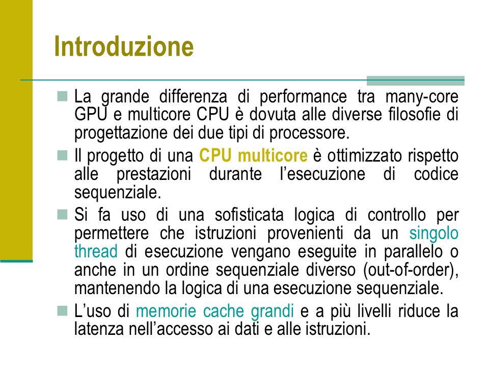 Introduzione La grande differenza di performance tra many-core GPU e multicore CPU è dovuta alle diverse filosofie di progettazione dei due tipi di processore.