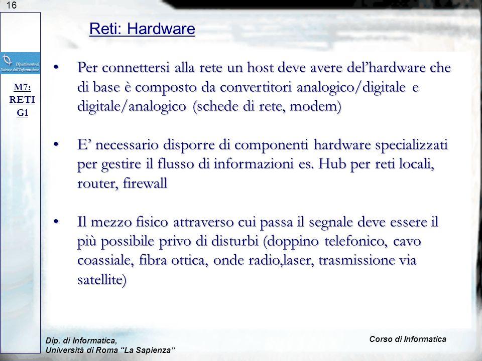 16 Dip. di Informatica, Università di Roma La Sapienza Corso di Informatica Reti: Hardware M7: RETI G1 Per connettersi alla rete un host deve avere de