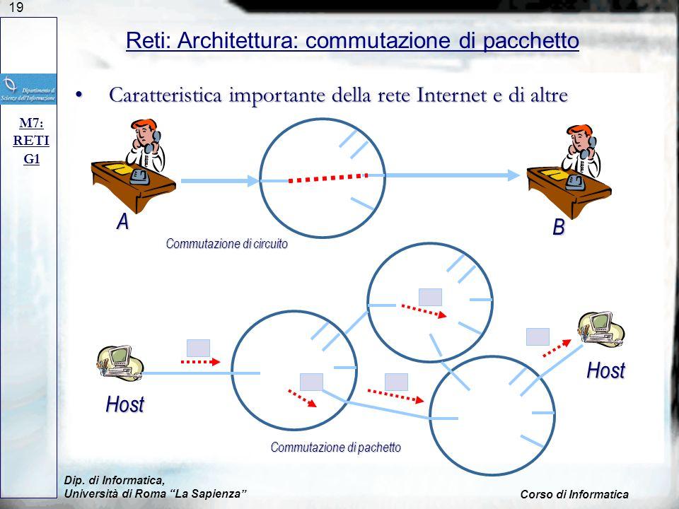 19 Dip. di Informatica, Università di Roma La Sapienza Corso di Informatica Reti: Architettura: commutazione di pacchetto M7: RETI G1 Caratteristica i