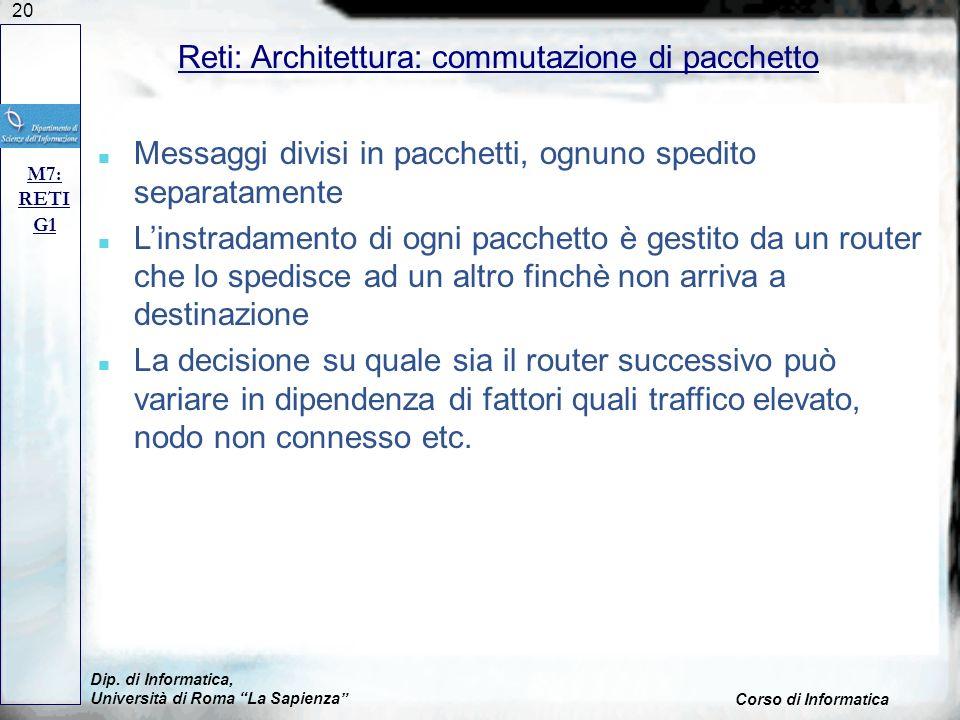 20 Dip. di Informatica, Università di Roma La Sapienza Corso di Informatica Reti: Architettura: commutazione di pacchetto M7: RETI G1 n Messaggi divis