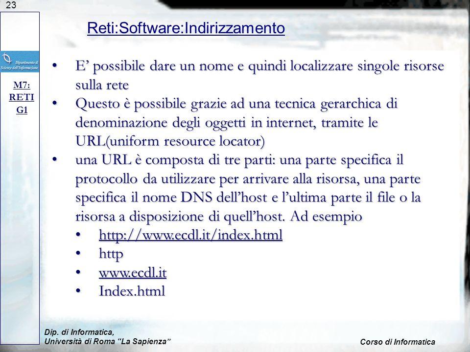 23 Dip. di Informatica, Università di Roma La Sapienza Corso di Informatica Reti:Software:Indirizzamento M7: RETI G1 E possibile dare un nome e quindi