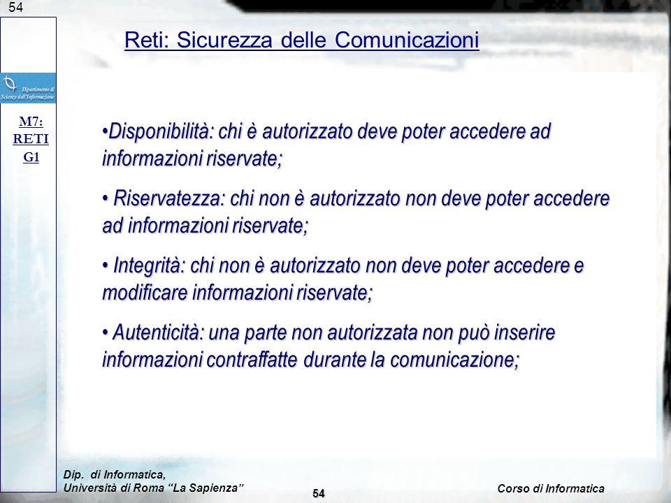 54 Reti: Sicurezza delle Comunicazioni M7: RETI G1 Disponibilità: chi è autorizzato deve poter accedere ad informazioni riservate; Disponibilità: chi