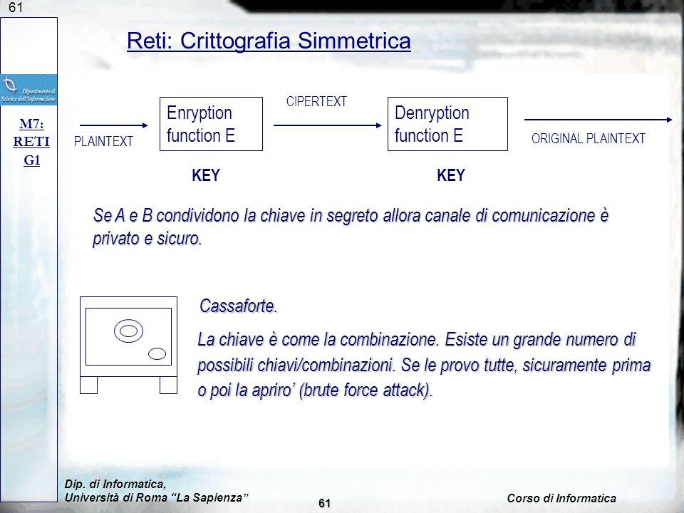 61 Reti: Crittografia Simmetrica M7: RETI G1 Se A e B condividono la chiave in segreto allora canale di comunicazione è privato e sicuro.