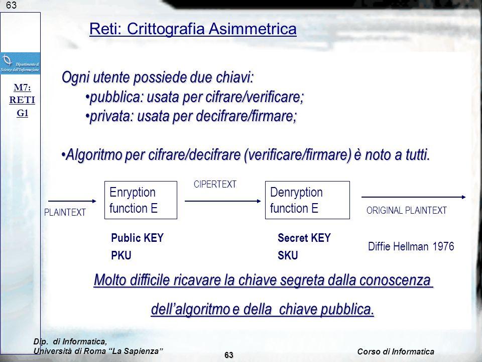 63 Reti: Crittografia Asimmetrica M7: RETI G1 Ogni utente possiede due chiavi: pubblica: usata per cifrare/verificare; pubblica: usata per cifrare/ver