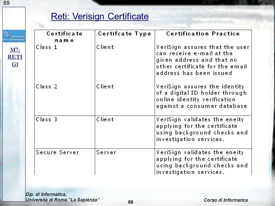 69 M7: RETI G1 Reti: Verisign Certificate Dip. di Informatica, Università di Roma La Sapienza Corso di Informatica 69