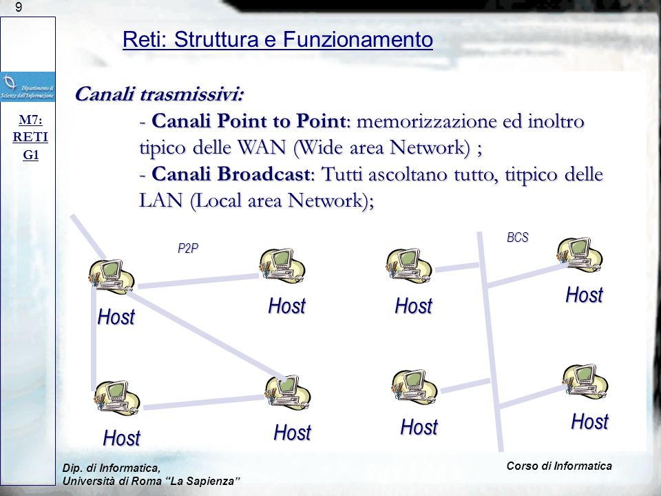 9 Dip. di Informatica, Università di Roma La Sapienza Corso di Informatica Reti: Struttura e Funzionamento M7: RETI G1 Canali trasmissivi: - Canali Po