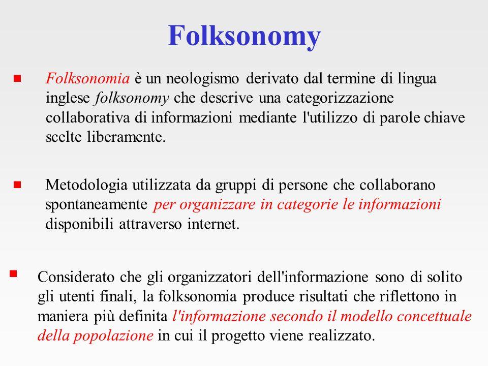 Folksonomy - Tagging Un tag è una parola chiave, come una etichetta, usata per classificare un contenuto.