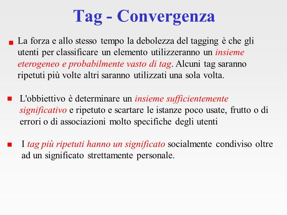 Tag - Convergenza La forza e allo stesso tempo la debolezza del tagging è che gli utenti per classificare un elemento utilizzeranno un insieme eterogeneo e probabilmente vasto di tag.