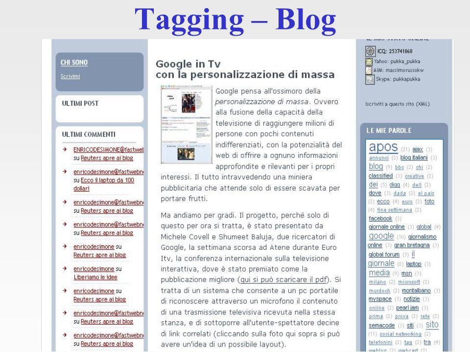 I tag vengono associati ai post – personali o di tutta la community - e forniscono dei percorsi navigazionali semantici di facile comprensione per l utente finale.