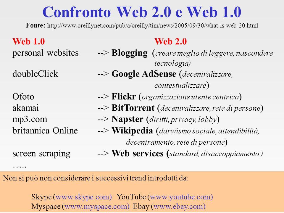 Web 2.0 e colonizzazione Le principali applicazioni e i trends di successo nel Web sono americani!