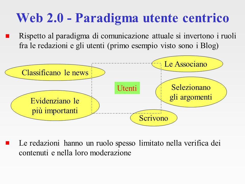 Web 2.0 - Paradigma utente centrico Il paradigma si basa su tre colonne portanti UGC Folksonomy Social network motivazioni (Bisogni) Paradigma utente centrico Web 2.0 Tecnologie accessibili per la gestione dei contenuti