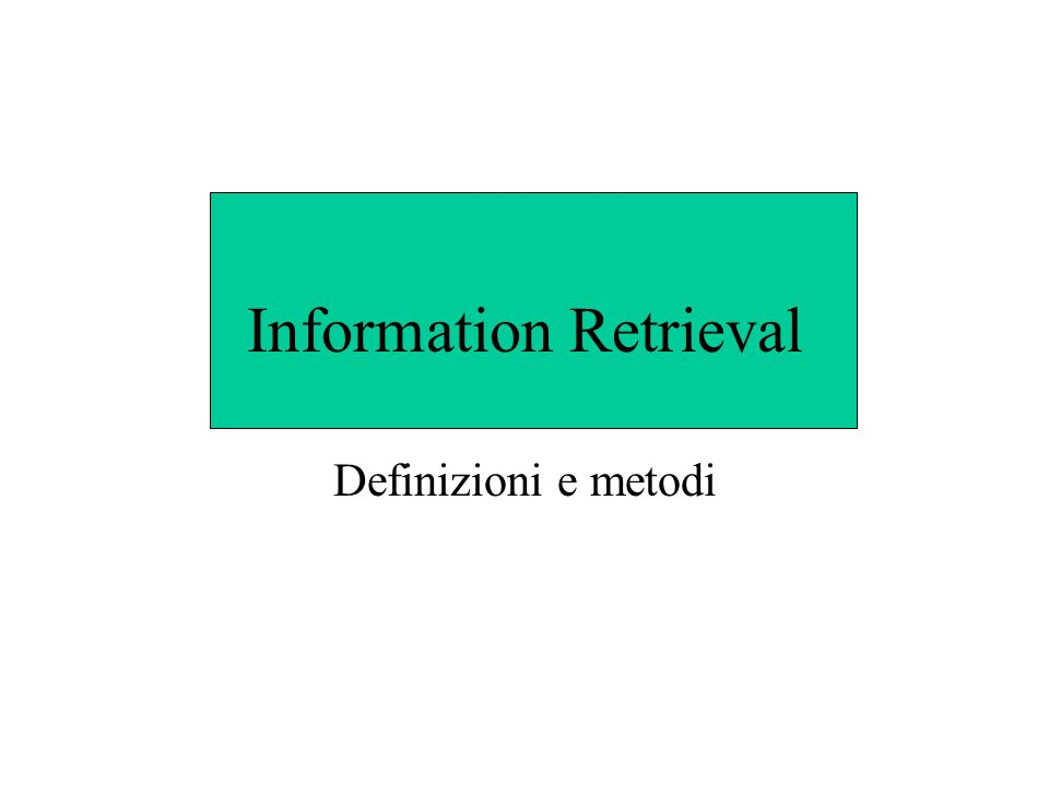 Query Quanto è corretta la rappresentazione del documento .