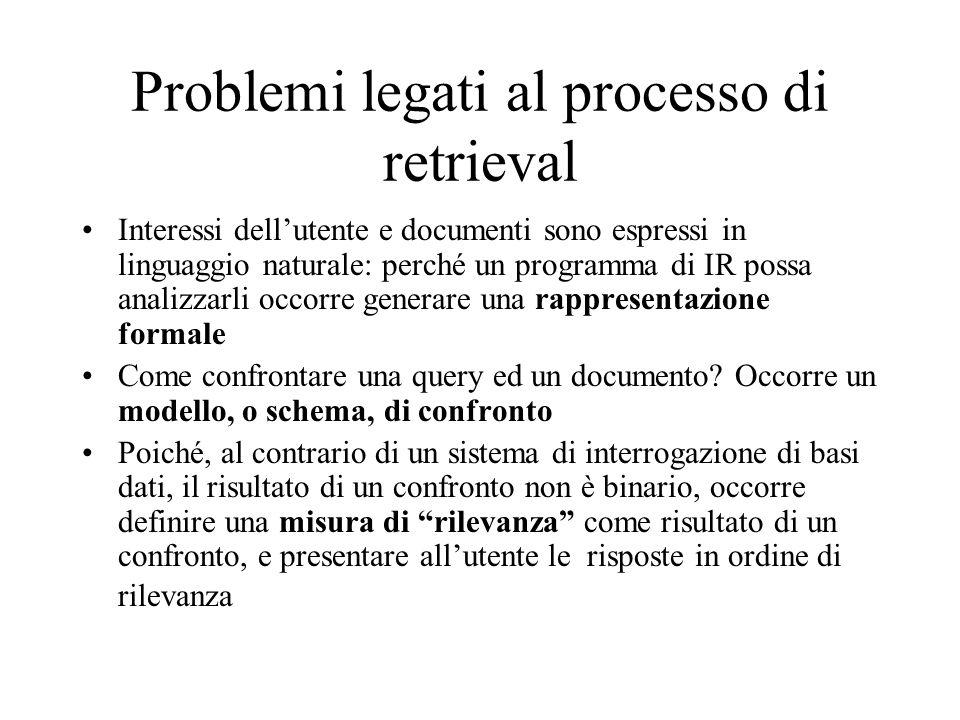 Problemi legati al processo di retrieval Interessi dellutente e documenti sono espressi in linguaggio naturale: perché un programma di IR possa analizzarli occorre generare una rappresentazione formale Come confrontare una query ed un documento.