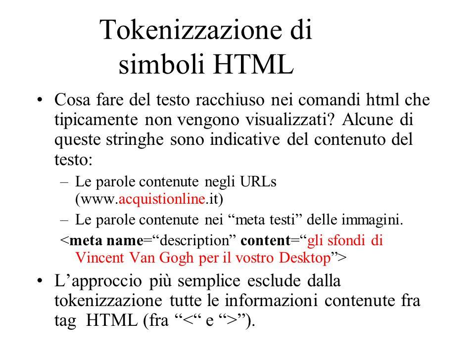 Tokenizzazione di simboli HTML Cosa fare del testo racchiuso nei comandi html che tipicamente non vengono visualizzati.