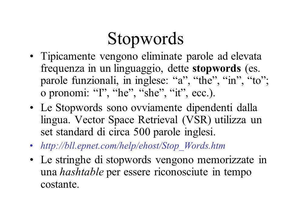 Stopwords Tipicamente vengono eliminate parole ad elevata frequenza in un linguaggio, dette stopwords (es.
