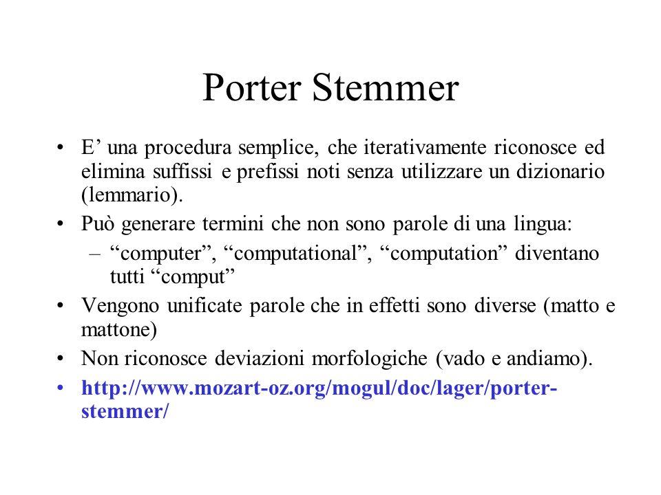 Porter Stemmer E una procedura semplice, che iterativamente riconosce ed elimina suffissi e prefissi noti senza utilizzare un dizionario (lemmario).