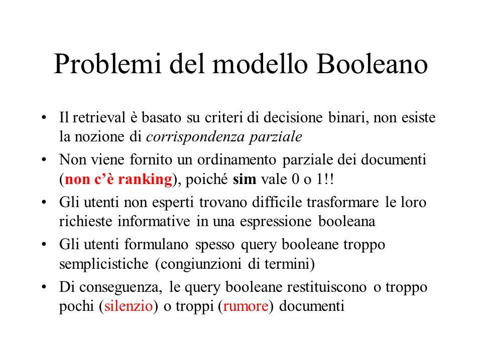Problemi del modello Booleano Il retrieval è basato su criteri di decisione binari, non esiste la nozione di corrispondenza parziale Non viene fornito un ordinamento parziale dei documenti (non cè ranking), poiché sim vale 0 o 1!.
